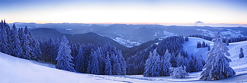 View from the Belchen summit at sunrise in the direction of Feldberg, Black Forest, Baden-Wuerttemberg, Germany, Europe