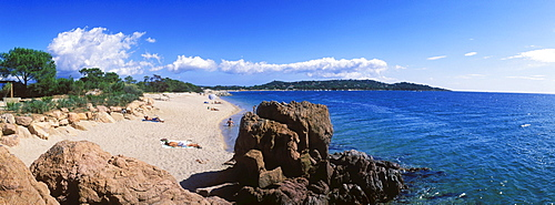 Sandy beach, Cala Rossa, East Coast, Golfe de Porto Vecchio, Corsica, France, Europe