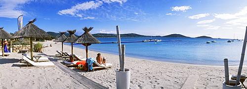 Sandy beach, San Ciprianu, Golfe de Porto Vecchio, East Coast, Corsica, France, Europe