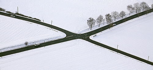 Aerial view, street intersection, Surkenstrasse, Haarstrasse, Stiepel, Bochum, Ruhrgebiet region, North Rhine-Westphalia, Germany, Europe