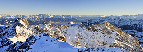 Panoramic view as seen from the 2436 meters high Altmann mountain and Altmannsattel saddle, Appenzell Alps, canton of Appenzell Innerrhoden, Switzerland, Europe