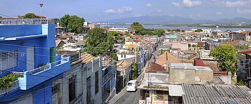 Panoramic view of the skyline as seen from the Balcon de Velazquez lookout, Tivoli borough, Santiago de Cuba, historic district, Cuba, Caribbean, Central America