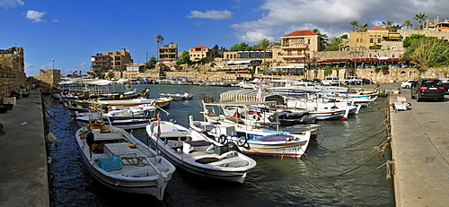 Fishing boats in the harbour of Byblos, Unesco World Heritage Site, Jbail, Lebanon, Middle East, West Asia