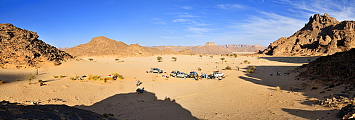 Tourist camp in the foothills of Tassili n'Ajjer National Park, Unesco World Heritage Site, Wilaya Illizi, Algeria, Sahara, North Africa