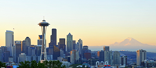 Panorama, early morning, sunrise, skyline of the Financial District in Seattle with Space Needle, Columbia Center, formerly known as Bank of America Tower, Washington Mutual Tower, Two Union Square Tower, Municipal Tower, formerly Key Tower and the U.S. B