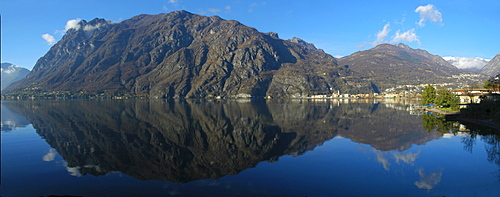 Monte Pozzoni reflected in Lake Lugano, Ticino, Switzerland, Italy, Europe