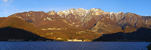 View towards Monte Generoso in the evening light, Lake Lugano, Ticino, Switzerland, Europe