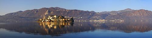 San Guiliano island in Lake Orta, Piedmont, Italy, Europe