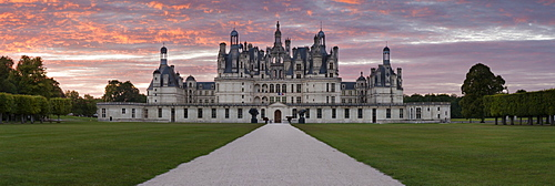Chateau de Chambord, south facade, at sunset, department of Loire et Cher, Centre region, France, Europe