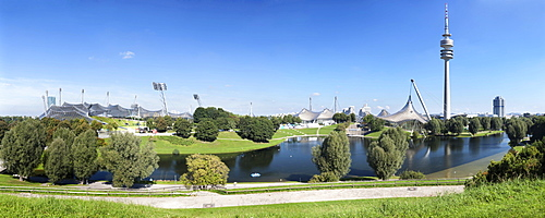 Olympic Park and Olympic Stadium, TV tower, Olympic Hall and BMW Tower, Munich, Upper Bavaria, Bavaria, Germany, Europe