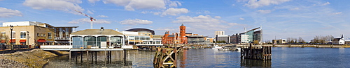 Panorama of Cardiff Bay with Mermaid Quay and The Pierhead building over Inner Harbour, Cardiff, Caerdydd, South Glamorgan, Wales, United Kingdom, Europe