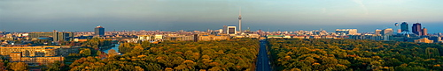 Panoramic view of the Siegessaeule, Victory Column, towards east with the government district, the Reichstag building, Brandenburg Gate, TV Tower, skyscrapers in Potsdamer Platz, Potsdam Square, Mitte district, Berlin, Germany, Europe