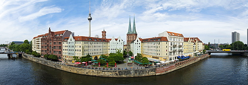 Panorama, Spree river and Nikolaiviertel district, Berlin, Germany, Europe