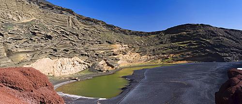 Green lagoon in the caldera of El Golfo, Lanzarote, Canary Islands, Spain, Europe