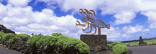 Sculpture at the cave entrance, Jameos del Agua, built by the artist Cesar Manrique, Lanzarote, Canary Islands, Spain, Europe
