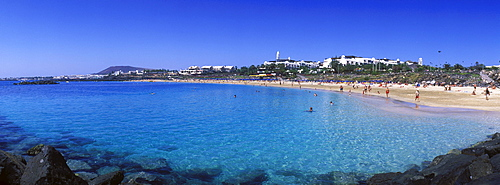 Sandy beach, Playa Dorada, Playa Blanca, Lanzarote, Canary Islands, Spain, Europe