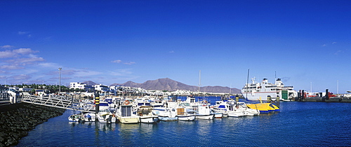Boats in the harbour, Playa Blanca, Lanzarote, Canary Islands, Spain, Europe
