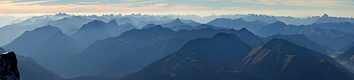 Mountain panorama from Zugspitze Mountain over the Alps, Germany, Europe