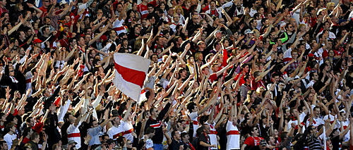 Fan area VfB Stuttgart football club, Mercedes-Benz Arena stadium, Stuttgart, Baden-Wuerttemberg, Germany, Europe