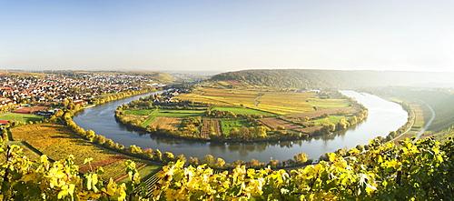 Mundelsheim river loop, Neckar river, autumn, Baden-Wuerttemberg, Germany, Europe