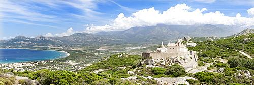 Views over the Gulf of Calvi with the chapel Notre Dame de la Sierra, Balagne, West Corsica, Corsica, France, Europe