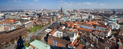View from St. Michaelis church, popular nickname Michel, onto Hamburg, Germany, Europe