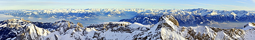 Panoramic view from Mt Saentis of southeast Alpstein area, Allgaeu, Vorarlberg and Grisons Alps in the back, Canton of Appenzell Innerrhoden, Switzerland, Europe