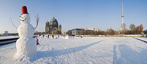 Snowman demonstration 2010 on the Schlossplatz square, Berlin, Germany, Europe