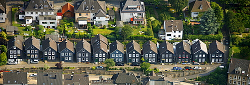 Aerial photo, row houses, old town, Wetter market town, North Rhine-Westphalia, Germany, Europe