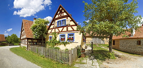 Historic half-timbered house with garden from Mainfranken, Franconian Open-air Museum of Bad Windsheim, Bavaria, Germany, Europe