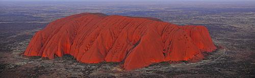 Panorama, aerial view of Uluru, Ayers Rock at sunset, Uluru-Kata Tjuta National Park, Northern Territory, Australia
