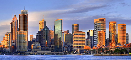 Panorama of Sydney Cove at sunrise, Circular Quay, port, Sydney skyline, Central Business District, Sydney, New South Wales, Australia