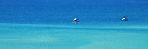 Panorama of the sea off Whitehaven Beach, Whitsunday Island, Whitsunday Islands National Park, Queensland, Australia