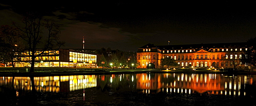 Night shot, panorama, Landtag parliament of Baden-Wuerttemberg, Neues Schloss palace, reflection in the Eckensee lake, Stuttgart, Baden-Wuerttemberg, Germany, Europe