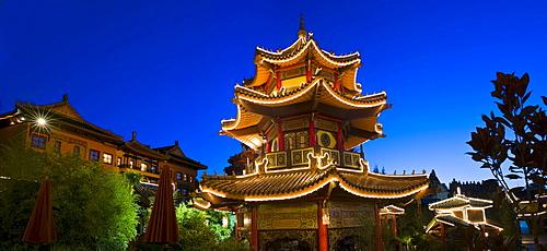 Pagoda, souvenir shop in Chinatown, Phantasialand amusement park, Bruehl, Nordrhein-Westfalen, Germany, Europe