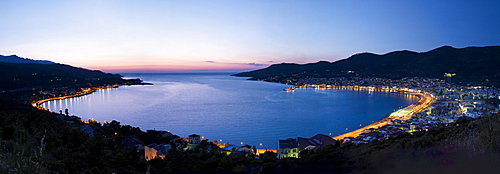 Panoramic view of the bay of Samos Town on the Greek island of Samos, Eastern Aegean Sea, Greece, Europe