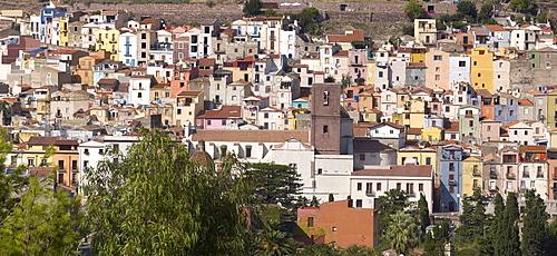 View of the Sardinian village Bosa, Oristano Province, west Sardinia, Italy, Europe