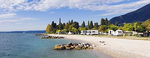 Lakeside camping site, Maderno, Lake Garda, Lago di Garda, Lombardy, Italy, Europe