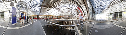 360 degree panoramic view Hauptbahnhof main train station, Berlin, Germany, Europe