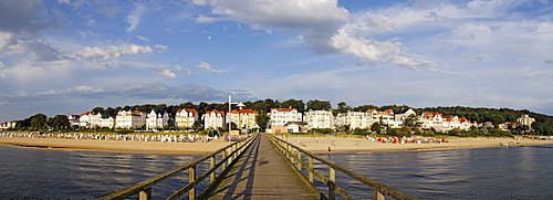 View from the pier of the Bansin seaside resort, panoramic view put together from 3 separate pictures, Usedom Island, Mecklenburg-Western Pomerania, Germany, Europe
