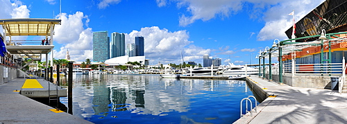 View onto American Airlines Arena and skyline from Bayside Mall in Miami, Florida, USA