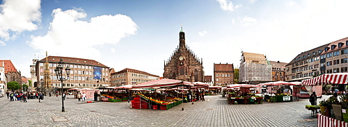 Hauptmarkt main square with the Frauenkirche Church of Our Lady, 180 degree panorama, Nuremberg, Franconia, Bavaria, Germany, Europe