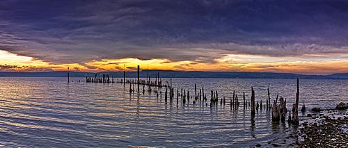 Expired pier on the shores of Lake Ueberlingen, Bodenseekreis district, Baden-Wuerttemberg, Germany, Europe