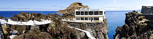 Panoramic view of the Cachalote restaurant in Porto Moniz, Madeira, Portugal, Europe
