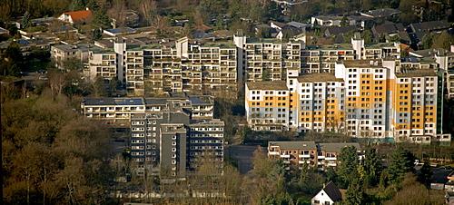 Aerial photo, tower blocks, prefabs, student accommodation at the RUB Ruhr University, Hustadt, Bochum, Ruhr area, North Rhine-Westphalia, Germany, Europe