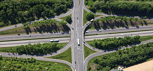 Aerial photo, Castrop central motorway slip-road on the A42, Castrop-Rauxel, Ruhr area, North Rhine-Westphalia, Germany, Europe