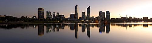 Skyline of Perth before sunrise, Perth, Western Australia