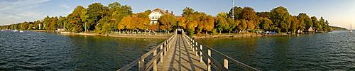 Panorama, steamship footbridge in Ammerland, Lake Starnberg, Upper Bavaria, Bavaria, Germany, Europe