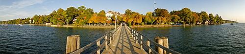 Panoramic view, jetty in Ammerland, Starnberg lake, Upper Bavaria, Germany, Europe