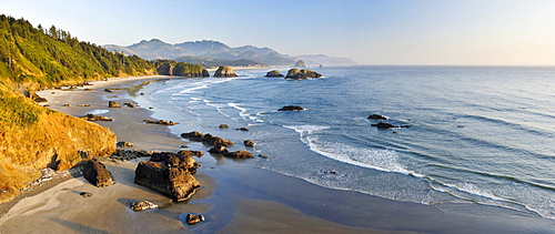 View of Cannon Beach from Ecola Point, Ecola State Park, Clatsop County, Oregon, USA, North America
